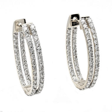 1.25 ct. t.w. Diamond Oval Hoop Earrings in 14k White Gold (H-I, I1)