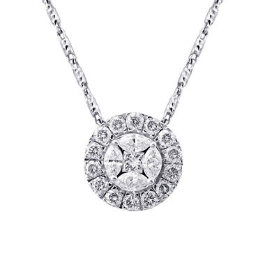 1.00 CT. T.W. Princess and Marquise Diamond Pendant in 14K White Gold (H-I, I1)