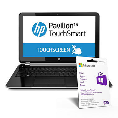 "HP Pavilion 15-n037cl 15.6"" Touch Laptop Computer, Intel Core i3-3217U, 6GB Memory, 750GB Hard Drive"