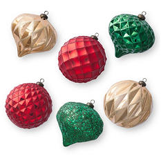 Jumbo Shatterproof Ornaments - Traditional (6 Count)
