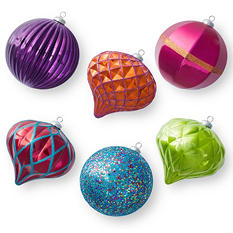 Jumbo Shatterproof Ornaments - Multicolored (6 Count)