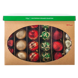 Shatterproof Ornament Collection - Red (100 Count)
