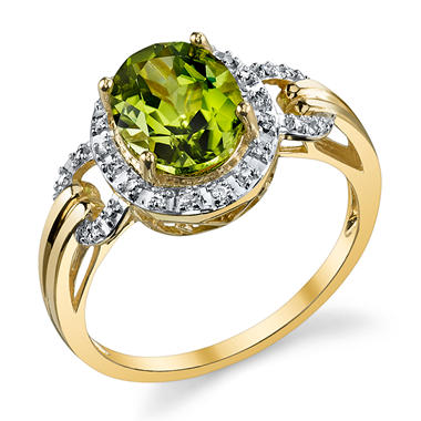 Peridot and Diamond Accent Ring in 14K Yellow Gold
