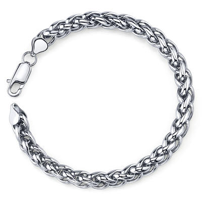 Stainless Steel Wheat Necklace and Bracelet Men's Set