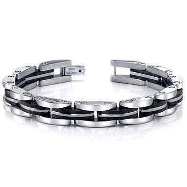 Stainless Steel and Black Ion Plated Men's Bracelet