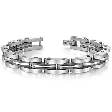 Stainless Steel and Gun Metal Ion Plated Men's Link Bracelet