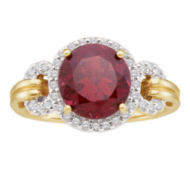 Garnet and Diamond Accent Ring in 14K Yellow Gold