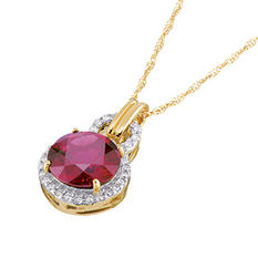 Garnet and Diamond Accent Pendant in 14K Yellow Gold