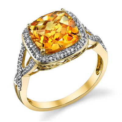 Citrine and Diamond Accent Ring in 14K Yellow Gold