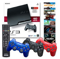 PS3 160GB Console with 2 Dual Shock 3 Controllers, Blu-ray Remote and 1 Game