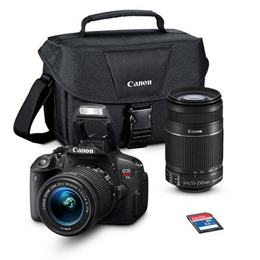 *$949 after $200 Tech Savings* Canon T5i 18MP Digital SLR Camera Bundle with 18-55mm IS Lens, 55-250mm Lens, 32GB SD Card, and EOS 100ES DSLR Shoulder Bag