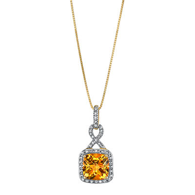 Citrine and Diamond Accent Pendant in 14K Yellow Gold