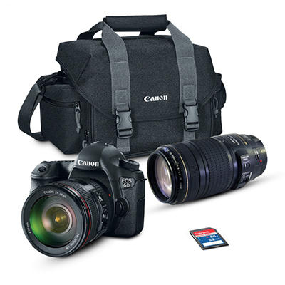 Canon EOS 6D 20.2MP Digital SLR Camera Bundle with EF24-105mm IS and 70-300mm Lens, 32GB SD Card, and EOS 300DG DSLR Gadget Bag