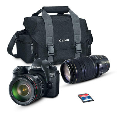 *$2,898 after $250 Tech Savings* Canon EOS 6D 20.2MP Digital SLR Camera Bundle with EF24-105mm IS and 70-300mm Lens, 32GB SD Card, and EOS 300DG DSLR Gadget Bag