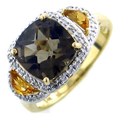 Citrine, Smokey Quartz and Diamond Accent Ring in 14K Yellow Gold