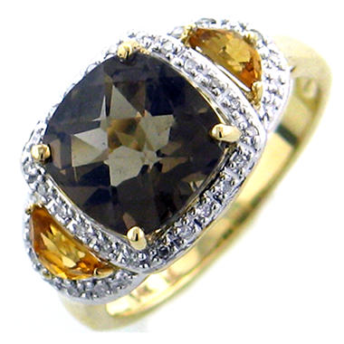 Citrine, Smokey Quartz and Diamond Accent Ring in 14K Yellow Gold