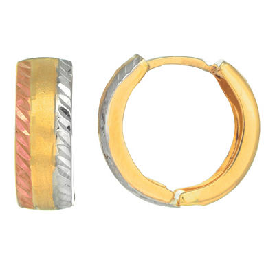 Tri Color Snuggable Earrings  in 14K Gold