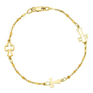 Cross Bracelet In 14K Yellow Gold