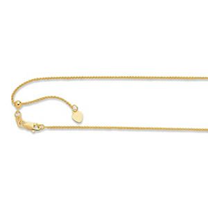 "22"" Adjustable Diamond Cut Wheat Chain In 14K Yellow Gold"