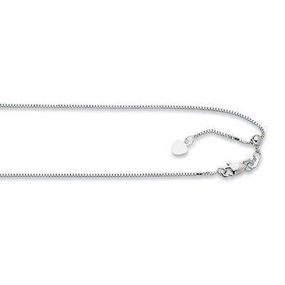 "22"" Adjustable .85MM Box  Chain In 14K White Gold"