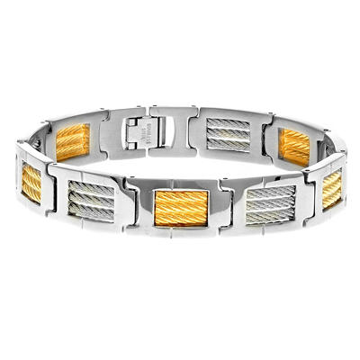 "Men's 8.5"" Bracelet In Stainless Steel With 18K Yellow Gold Accent"