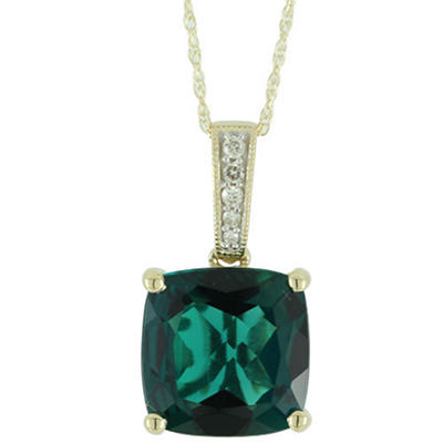 2.0 CT. T.W. Lab-Created Emerald Pendant Necklace With Diamond Accents in 14kt Yellow Gold