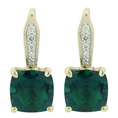2.13 ct. t.w. Lab-Created Emerald Earrings with Diamond Accents in 14kt Yellow Gold