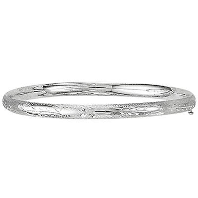 5mm Floral Bangle In 14K White Gold