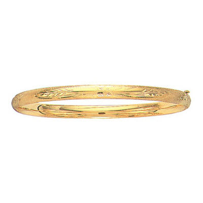 5mm Floral Bangle In 14K Yellow Gold