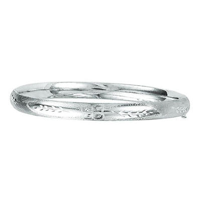 6mm Floral Bangle In 14K White Gold
