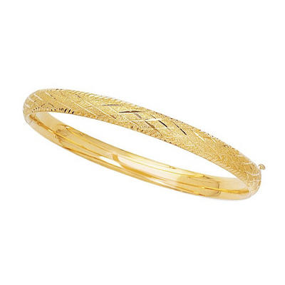 6mm Checkered Bangle In 14K Yellow Gold