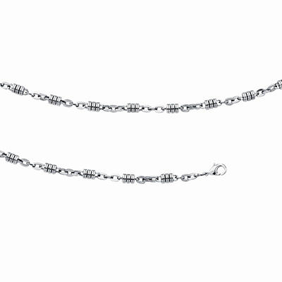 Men's Barrel Link Bracelet and Necklace Set in Stainless Steel