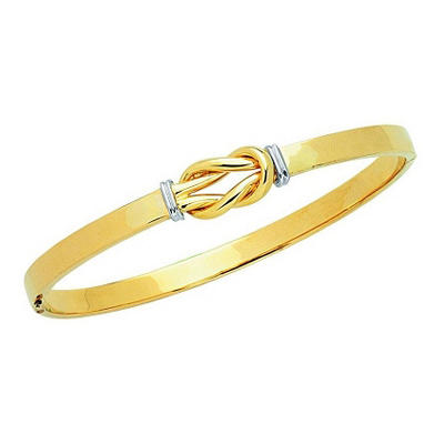 Two-Tone Knot Bangle in 14K Gold
