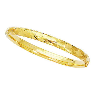 6mm Polished and Satin Bangle In 14K Yellow Gold