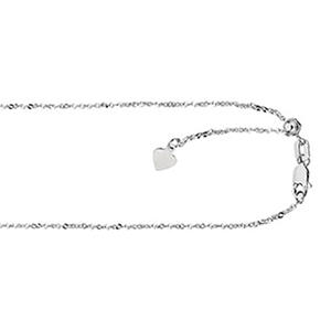 "22"" Adjustable Singapore Chain In 14K White Gold"