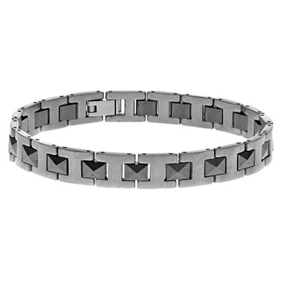 "Men's 8"" Bracelet with Polished Two-Tone Finish in Titanium"