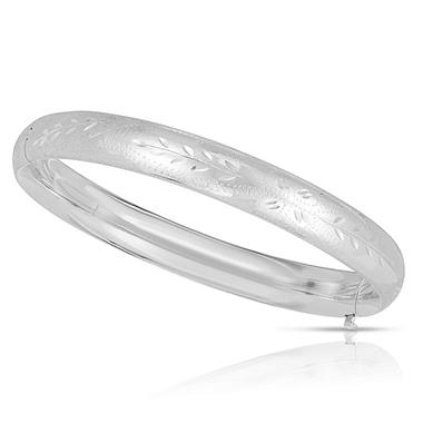 8mm Floral Bangle In 14K White Gold