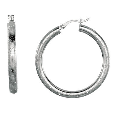 Stardust Hoop Earring In Sterling Silver