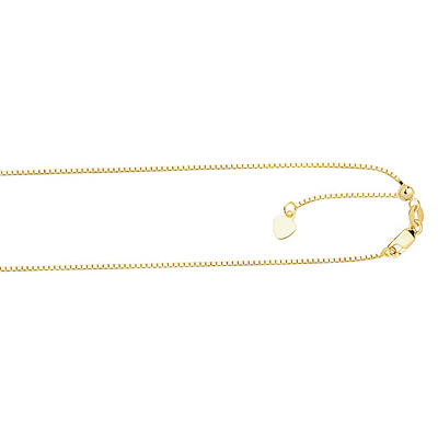 1.1mm Adjustable Box  Necklace In 14K Yellow Gold