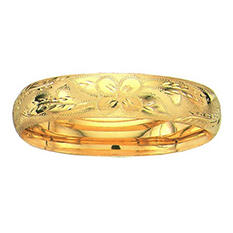 13.5mm Floral Bangle In 14K Yellow Gold