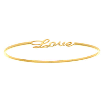 """Love"" Slip On Bangle In 14K Yellow Gold"