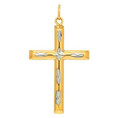 Two-Tone Cross Pendant in 14K Gold
