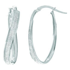 Round Hoop Earrings in 14K White Gold
