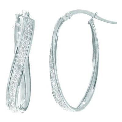 Round Hoop Earrings in 14K White Gold