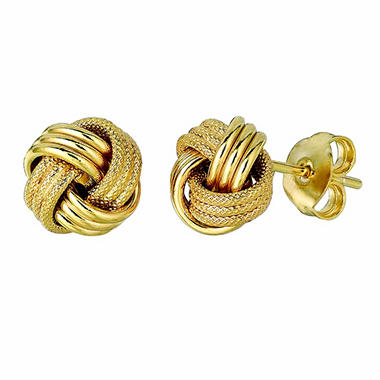 14K Yellow Gold Polished and Textured Italian Knot Post Earrings