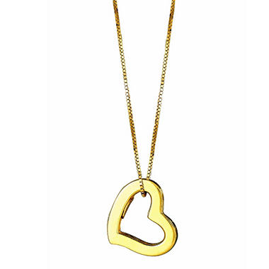"14K Yellow Gold Hollow Heart Pendant on a 18"" Box Chain"