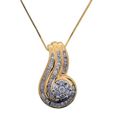 0.75 CT. T.W. Diamond Swirl Pendant in 14K Yellow Gold (I, I1)