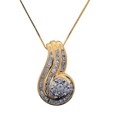 0.75 CT. T.W. Diamond Swirl Pendant in 14K Yellow Gold (I, I1)