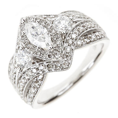 1.95 CT. T.W. Round & Marquise Diamond Ring in 14K White Gold (I, I1)