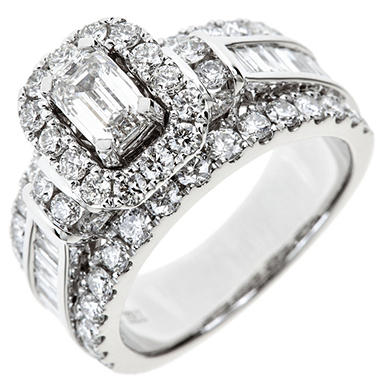 2.95 CT. TW. Emerald-cut Diamond Bridal Ring in 14K White Gold (I, SI2)